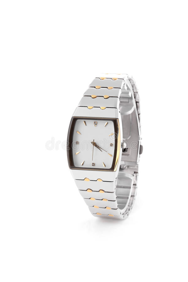 Wrist watch isolated. Chrome wrist watch isolated on white royalty free stock images
