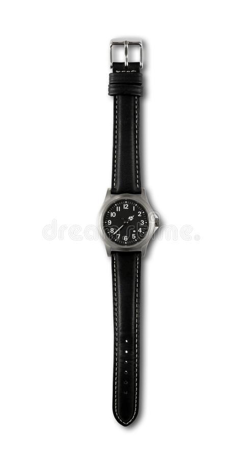 Wrist watch isolated on white background. Black wrist watch isolated on white background stock photography