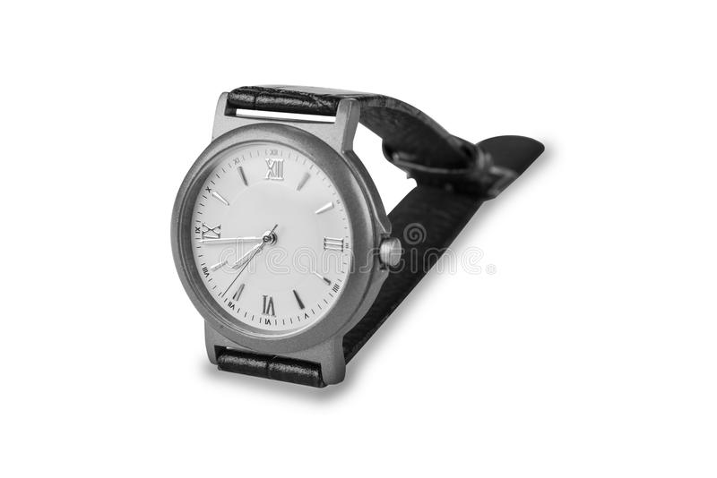Wrist watch with leather strap on the white. Wrist watch with leather strap on the white royalty free stock image