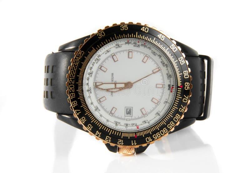 Wrist watch. Macro closeup over white royalty free stock photo