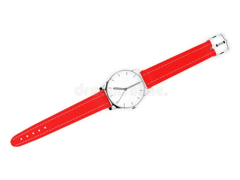 Wrist watch with unbuckled bracelet. White dial with metal case and red leather band. 3d rendering illustration isolated on white background stock illustration