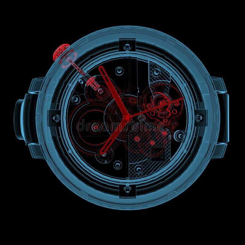 Wristwatch (τρισδιάστατος των ακτίνων X κόκκινος και μπλε διαφανής) στοκ φωτογραφίες με δικαίωμα ελεύθερης χρήσης