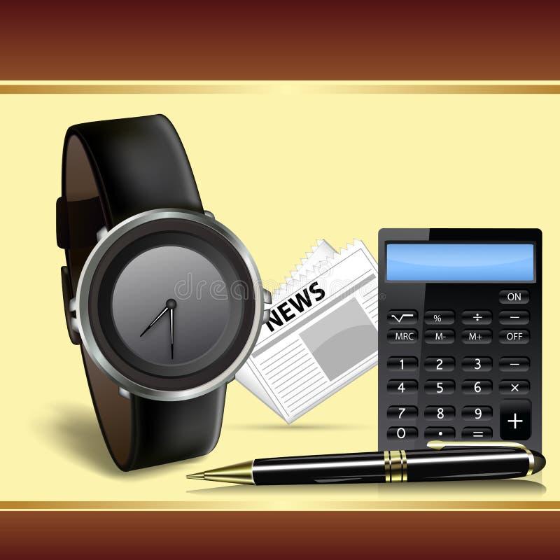 Wristwatch, чалькулятор и пер иллюстрация вектора