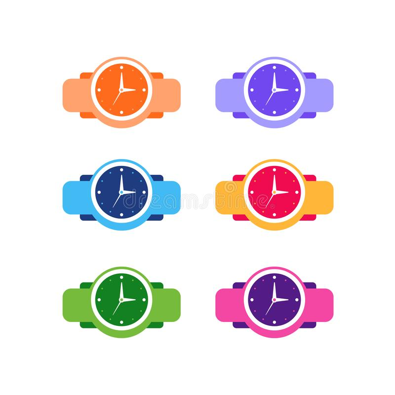 Wristwatch icon template. watch symbol vector sign isolated on white background. Time, clock, timer, design, hour, minute, simple, hand, dial, illustration stock illustration