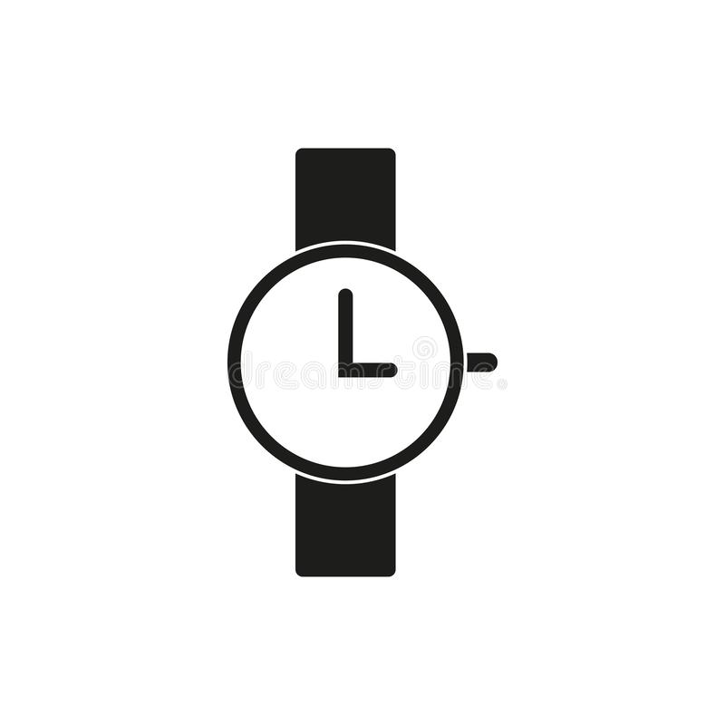 Wristwatch ikona, trzy godziny royalty ilustracja