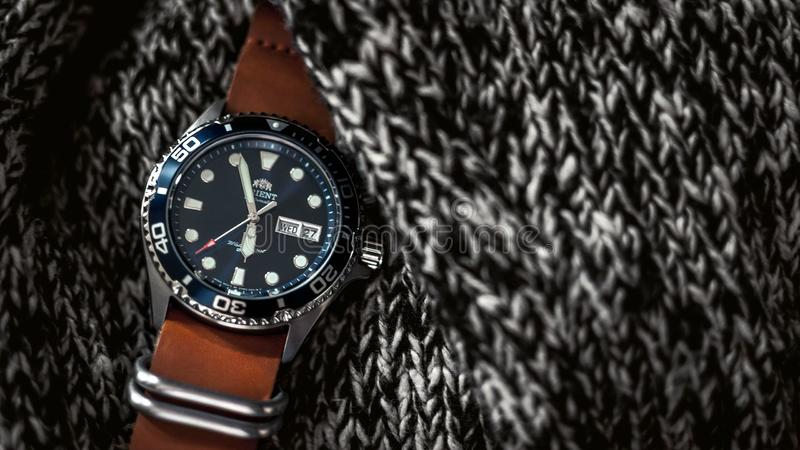 Wristwatch On Knitted Fabric Free Public Domain Cc0 Image