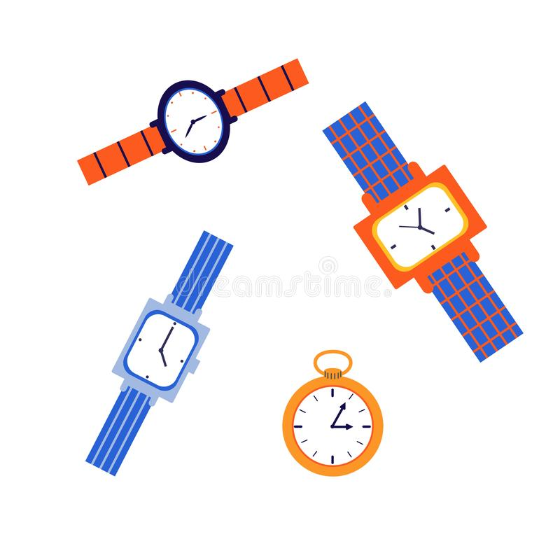 Wristwatch, mechanical watch. A set of watches of different shapes with multi-colored straps vector illustration