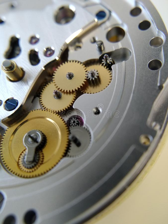 Wristwatch. Very shallow depth of field. Close-up of a mechanical watch stock image