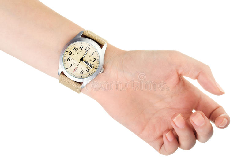 Wristwatch on woman hand stock photography