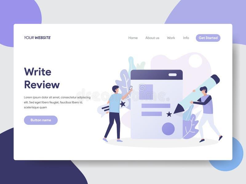 Write回顾例证概念登陆的页模板  网页设计的现代平的设计观念网站和机动性的 库存例证
