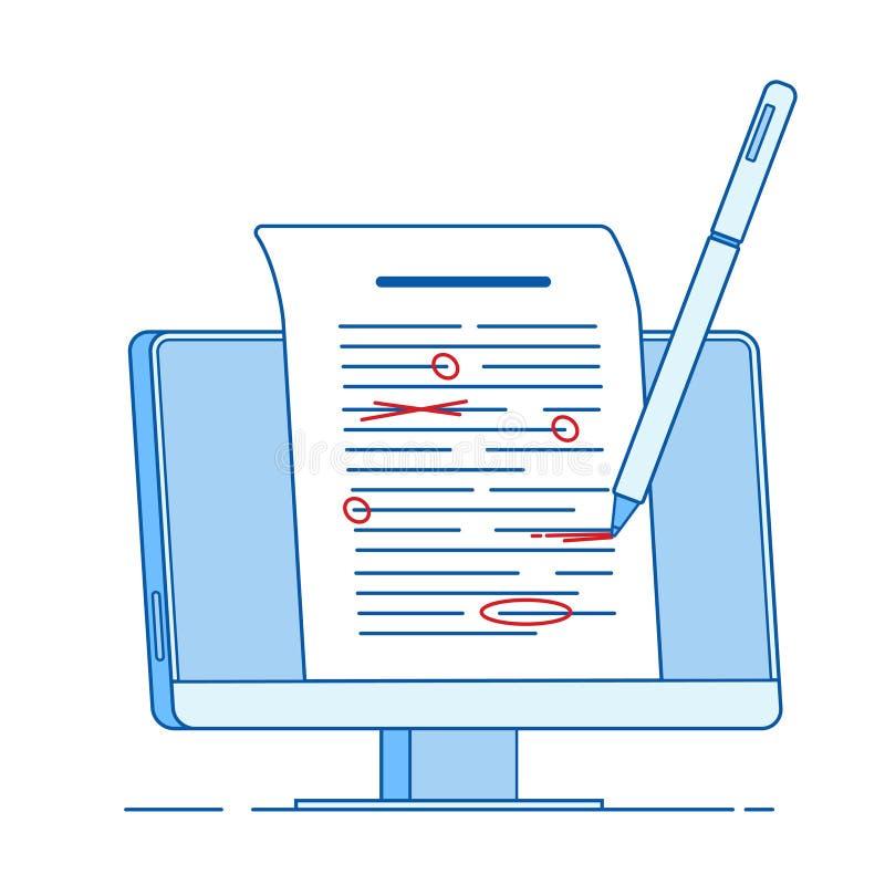 Write éditer le concept des textes Écrivant éditant des documents, ligne de correction sur épreuves correcte concept de vecteur d illustration stock