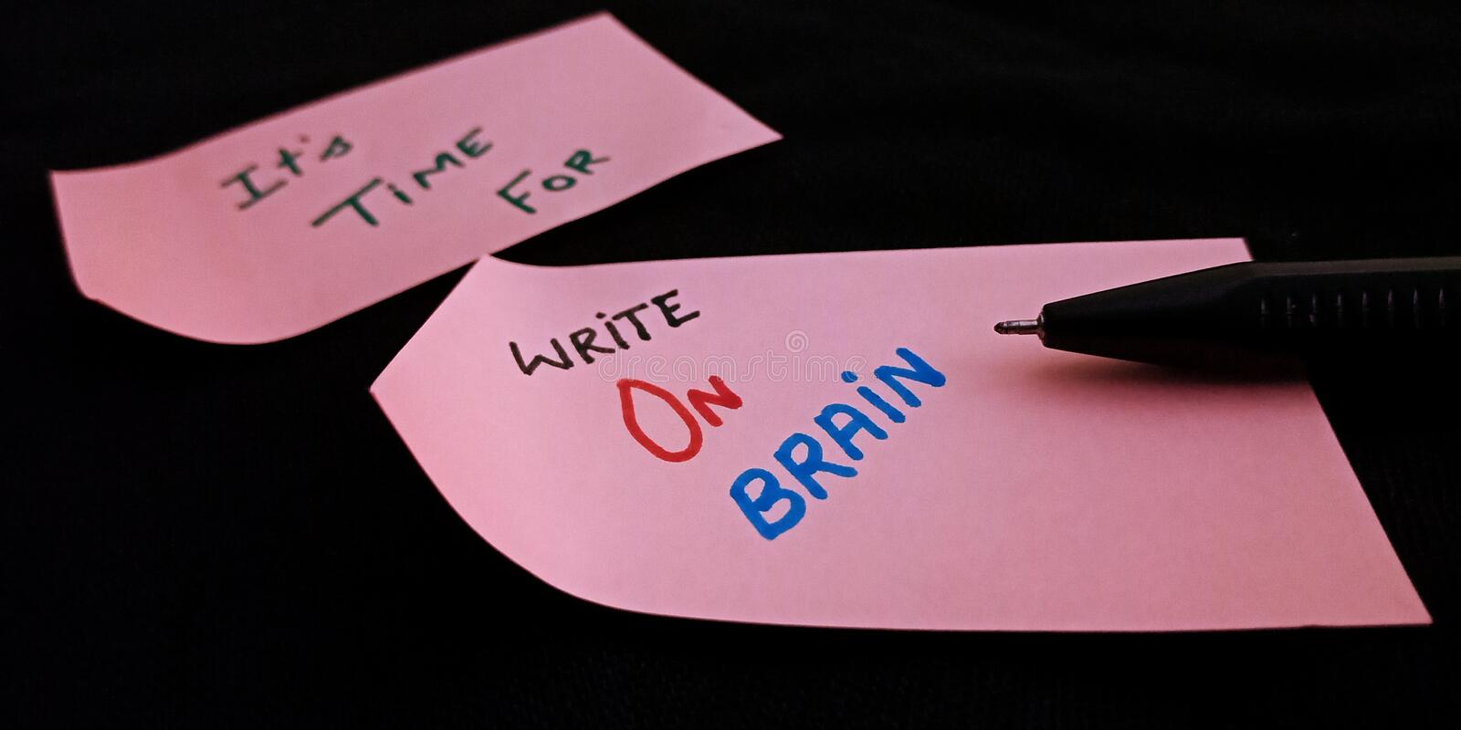 write on brain concept presented on black background stock photography