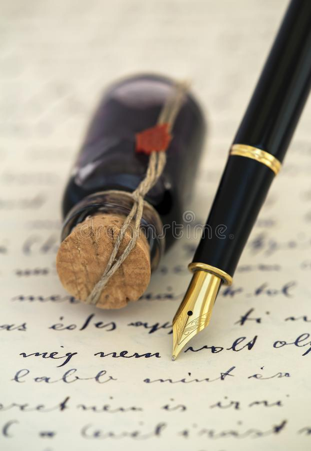 Write concept, fountain pen and ink on a vintage handwritten letter stock photos