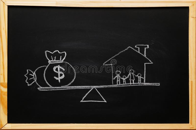 Write dollar bags symbol and 4 members family under a house a balance scale in equal position on blackboard. Family financial. Management, cash advance concept stock photos