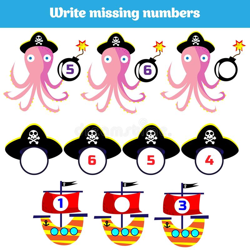 Write the missing number. Mathematics educational game for children. Complete the row, write missing numbers vector illustration