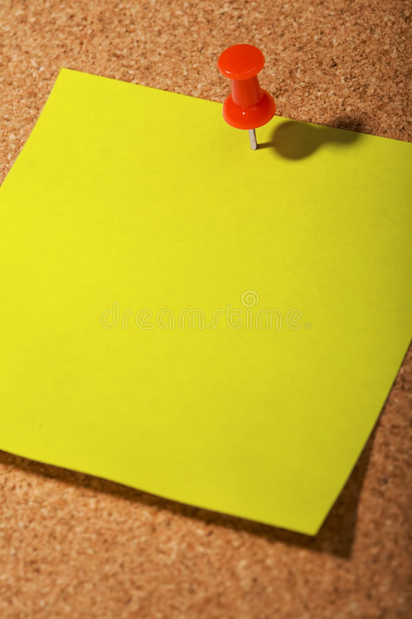 Write note on it!. Post it on the cork background stock photo