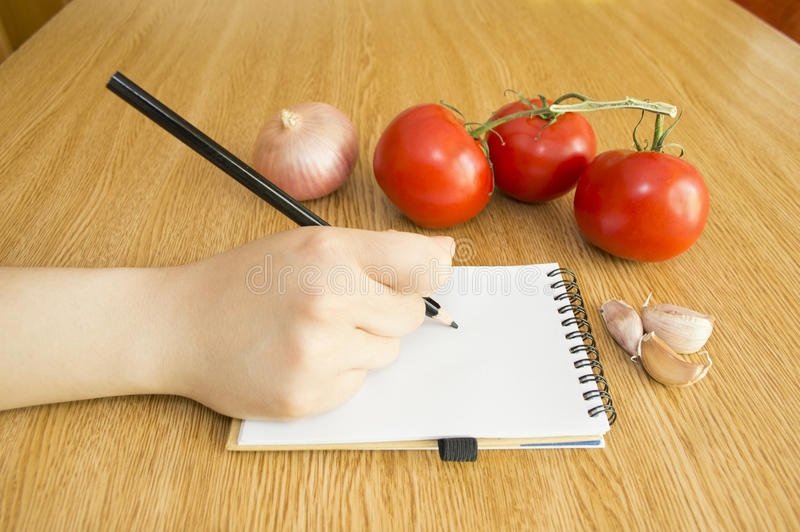 Download Write In Notebook And Fresh Vegetables Stock Image - Image: 32104069