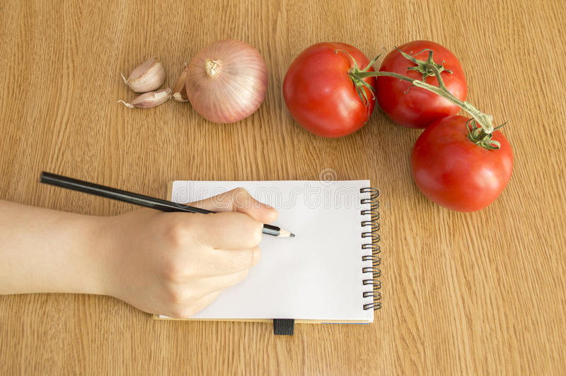Download Write In Notebook Viewed From Up Stock Image - Image of copyspace, cooking: 34061741