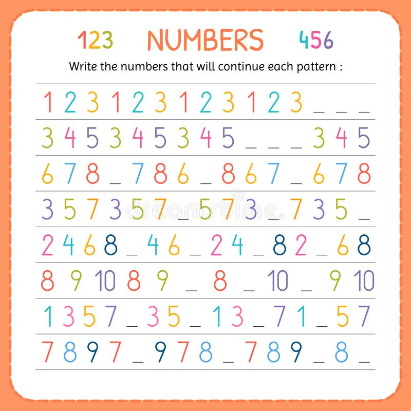 Write The Numbers That Will Continue Each Pattern Numbers For Kids