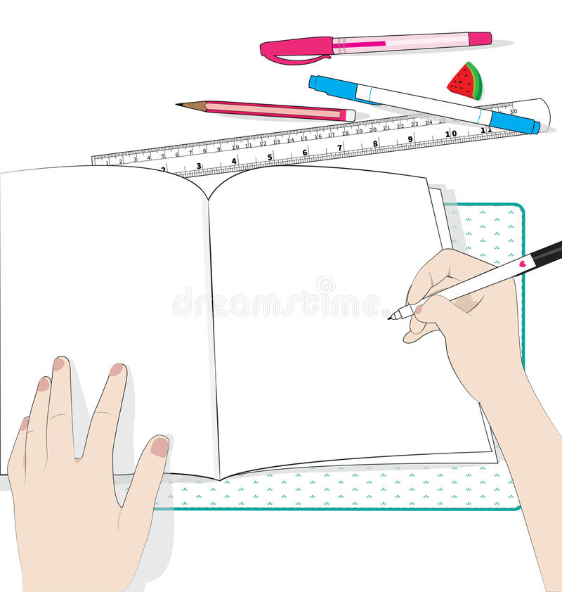 Write paper. Paper and object on white background royalty free illustration