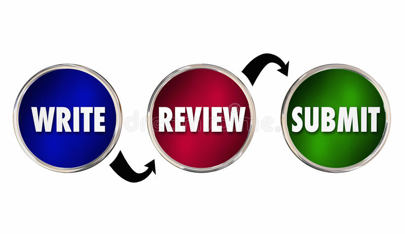 Write Review Submit Writing Process Success. 3d Illustration stock illustration