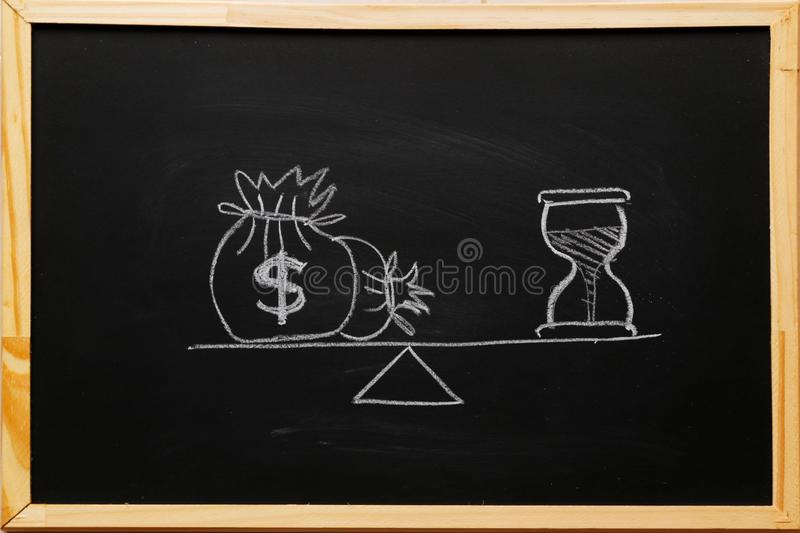 Write sand clock or hourglass symbol and dollar bagson a balance scale in equal position on blackboard with chalk. Financial. Concept : Time value of money royalty free stock photo
