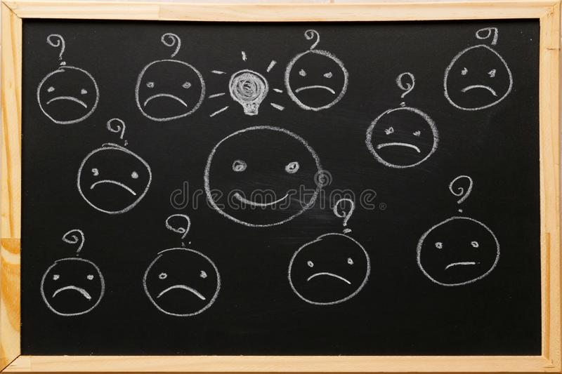 Write smiley face symbol with light bulb icon and blurred sad face symbol have question on blackboard with chalk. Service rating,. Satisfaction concept stock photos