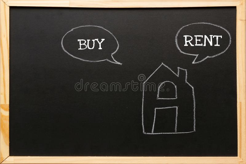 Write symbol on blackboard with chalk. Home with Buy or Rent, copy space.  royalty free stock photos