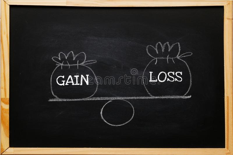Write symbol Gain and loss bags on a basic balance scale on blackboard. Capital investment gain and loss, financial concept,. Depicts balancing between profit royalty free stock image