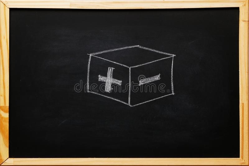 Write symbols plus and minus on blackboard with chalk. concept of opposites.  stock photo