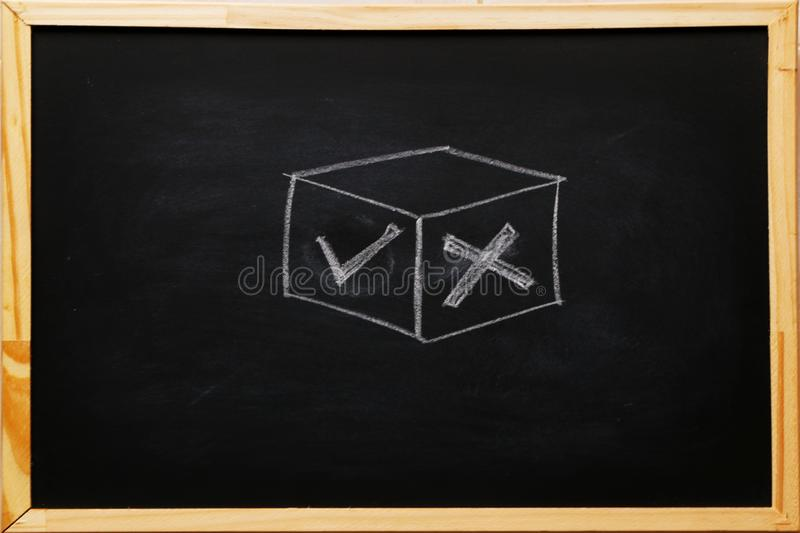 Write True and false symbols accept rejected for evaluation, Yes or No on blackboard with chalk.  royalty free stock photos