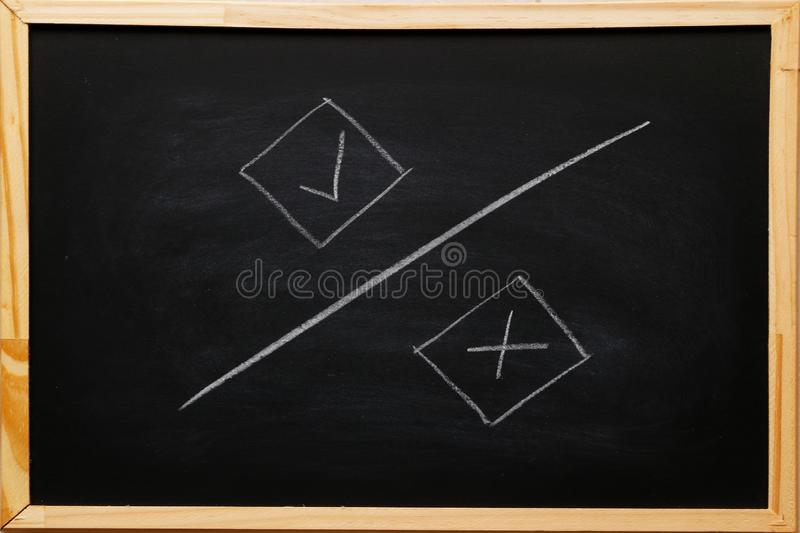 Write true and false symbols accept rejected for evaluation, Yes or No on blackboard with chalk.  stock image