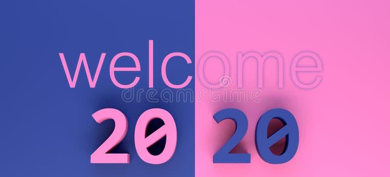 Welcoming year 2020 3d illustration vector illustration