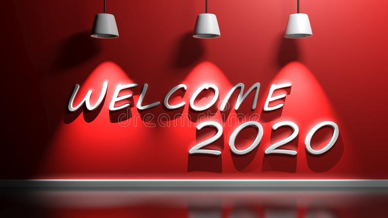 Welcome 2020 write at red wall with lamps - 3D rendering illustration vector illustration