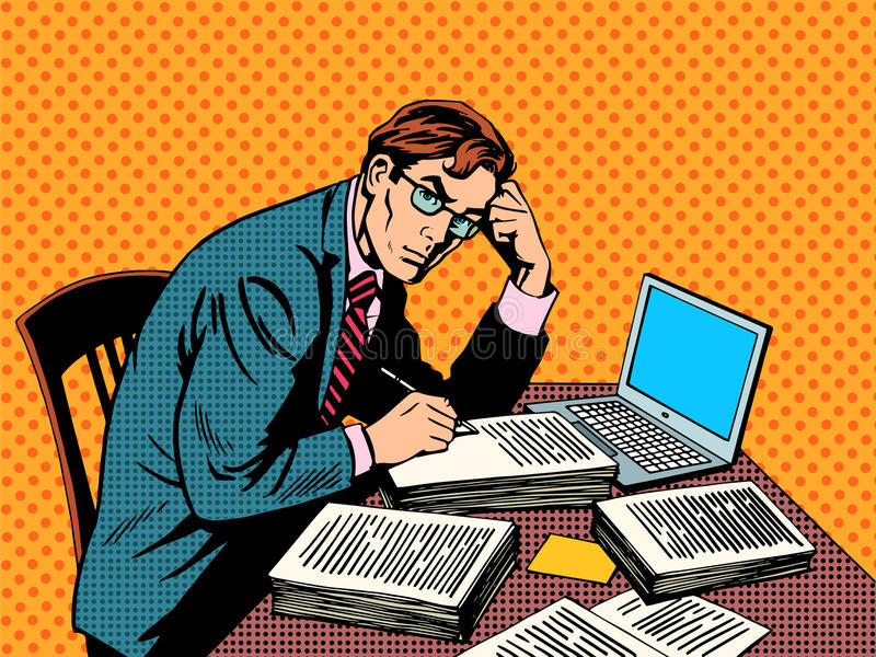 Writer editor journalist academic thesis paper. Laptop pop art retro style. A stack of documents. Office work stock illustration