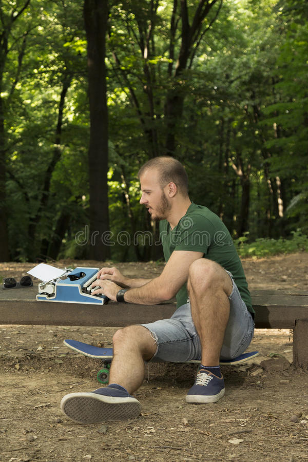 Writer finding inspiration stock images