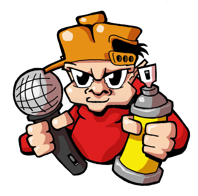 Writer hip hop kid 03. Urban hip hop kid with cap, microphone and spray can royalty free illustration