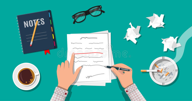 Writer or journalist workplace. Hands of author with pen working on document. Paper draft sheets with text, pencil. Ashtray, cigarette, coffee cup. Eyeglasses royalty free illustration