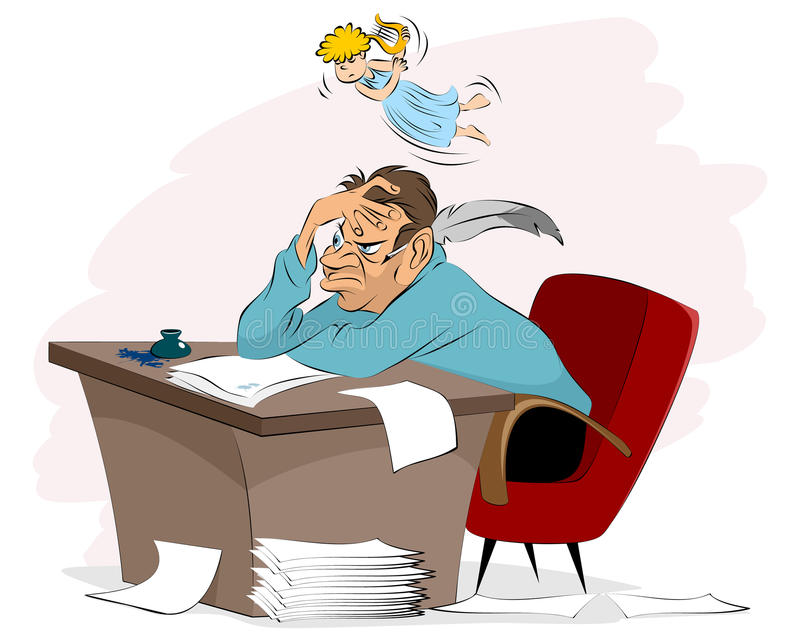 Writer and muse stock illustration