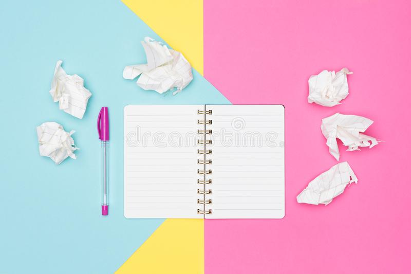 Writer`s block. Ideas, brainstorming, creativity, imagination, deadline, frustration concept. Top view photo of office desk. Writer`s block. Ideas stock image