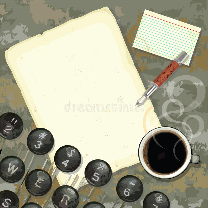 Download Writer's Desk With Typewriter And Coffee Stock Vector - Illustration of antique, isolated: 22549205