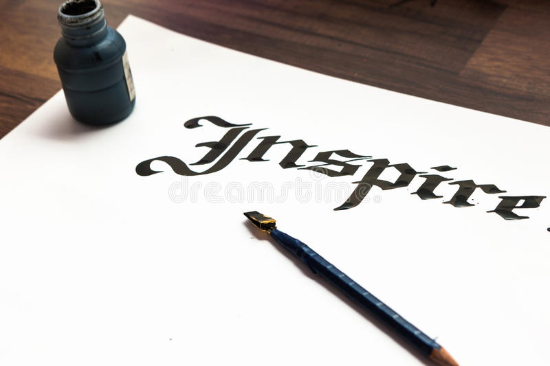 Writer`s tools ink paper pen top view stock image image of