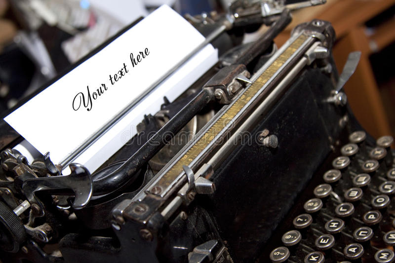 Writer`s typewriter. With a paper stock image