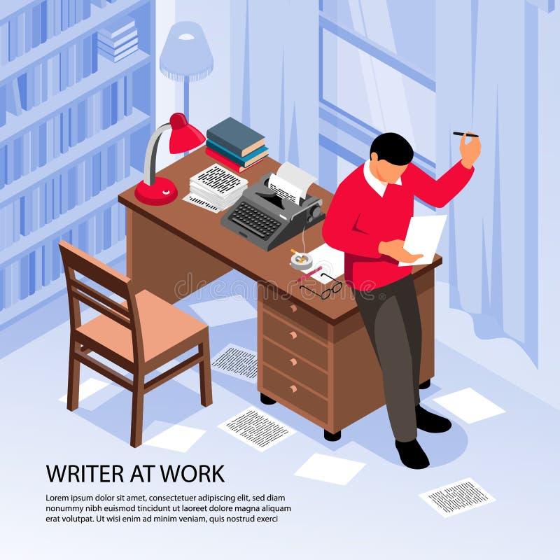 Writer Work Isometric Composition stock illustration