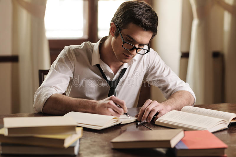 Writer at work stock photography