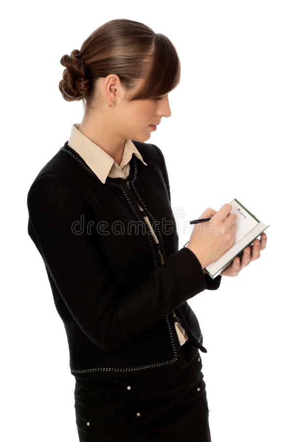 Writes business plan stock photography