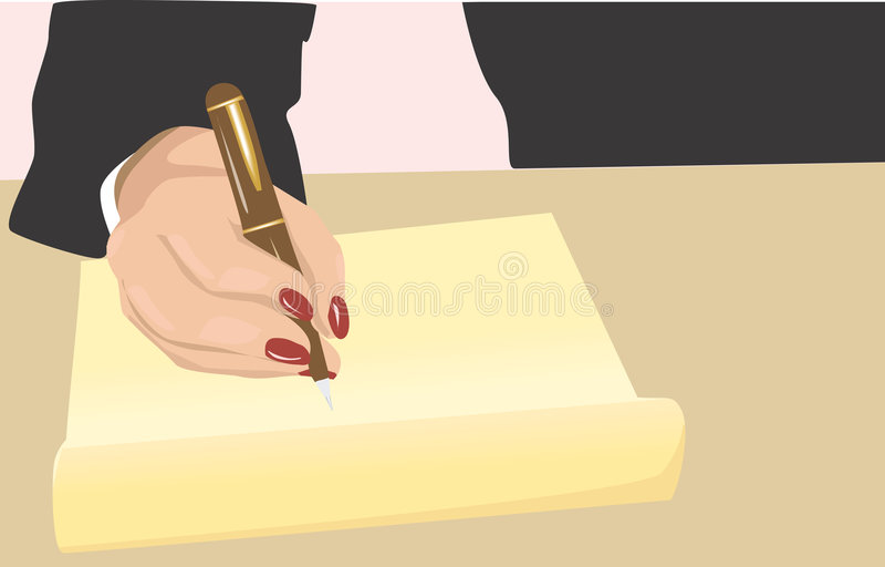 Writing. Illustration of a businesswoman writing with a pen on a paper royalty free illustration