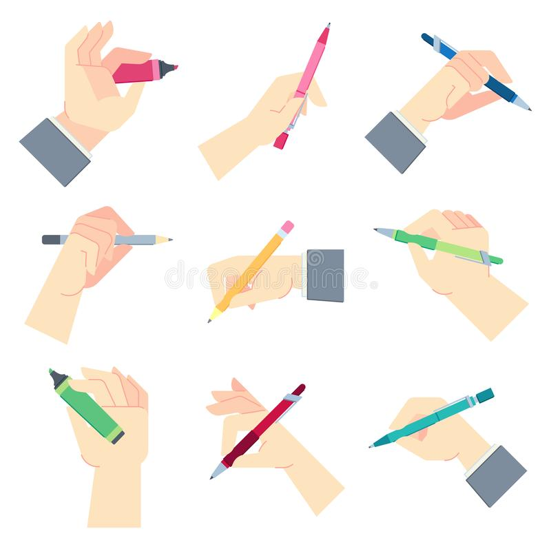 Writing accessories in hands. Pen in businessman hand, write on paper sheet or notepad and hands gestures vector vector illustration