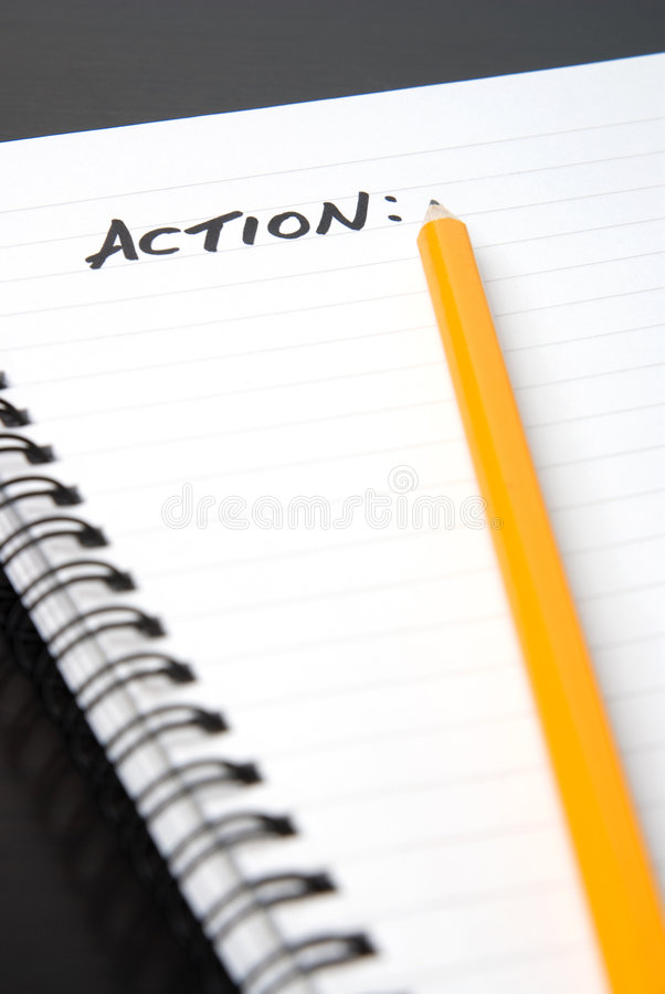 Free Writing ACTION In A Spiral-bound Notebook. Royalty Free Stock Photo - 7874075