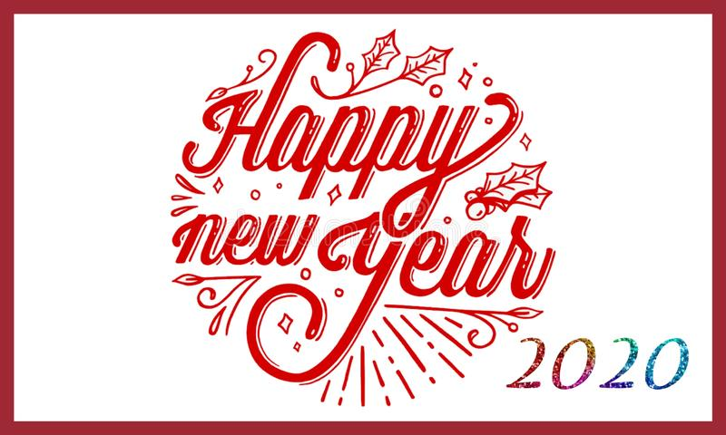 Writing background of happy new year 2020 royalty free illustration
